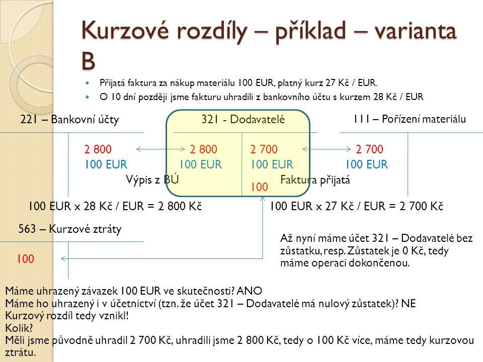 Kurzové rozdíly – příklad – varianta B