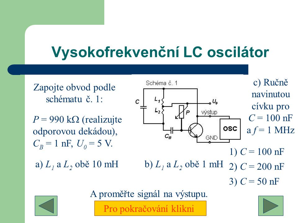 Vysokofrekvenční LC oscilátor