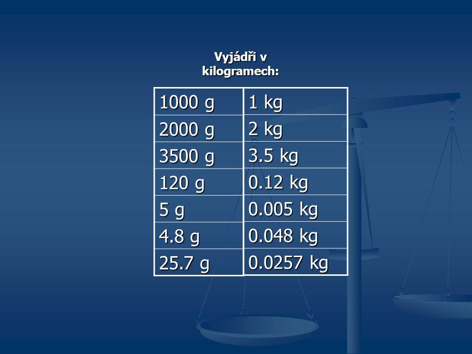 Vyjádři v kilogramech: