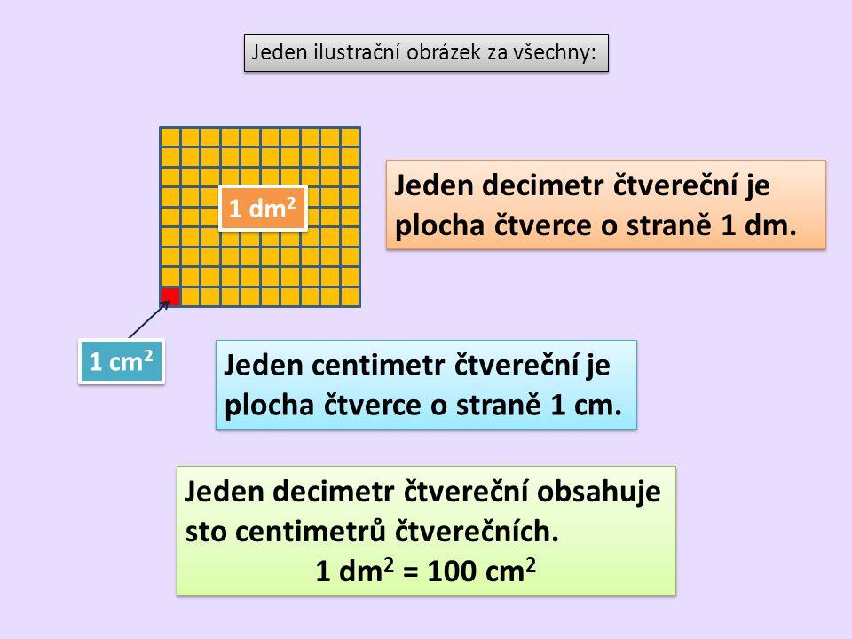Jeden decimetr čtvereční je plocha čtverce o straně 1 dm.