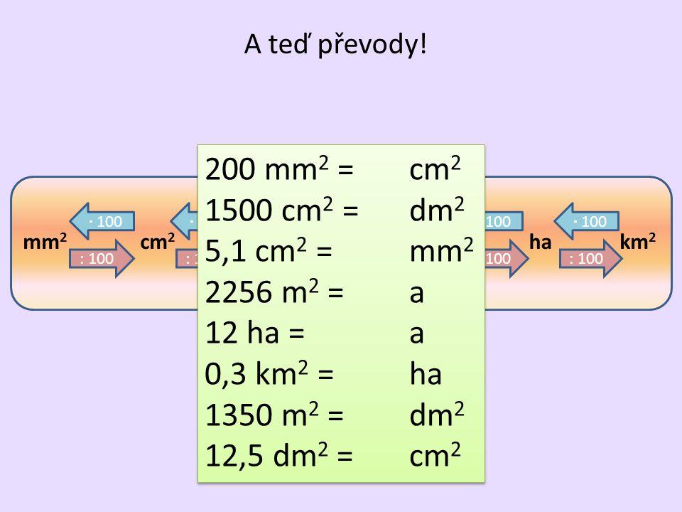 200 mm2 = cm2 1500 cm2 = dm2 5,1 cm2 = mm2 2256 m2 = a 12 ha = a