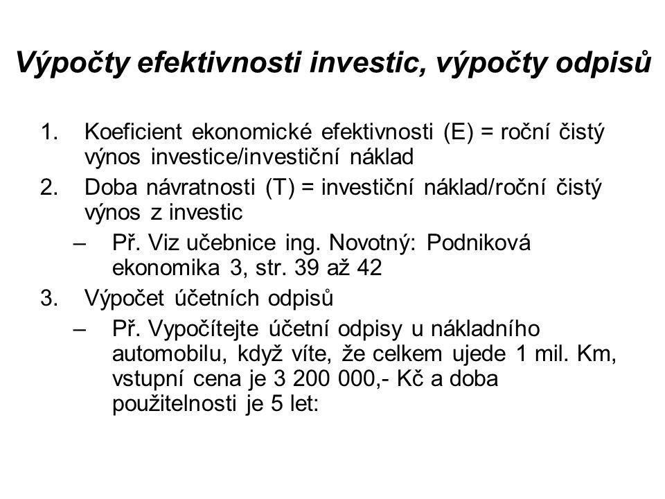 Výpočty efektivnosti investic, výpočty odpisů