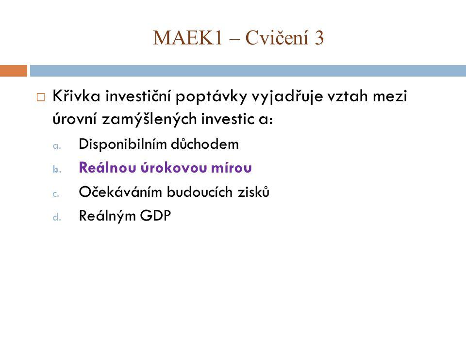 MAEK1 – Cvičení 3 Křivka investiční poptávky vyjadřuje vztah mezi úrovní zamýšlených investic a: Disponibilním důchodem.