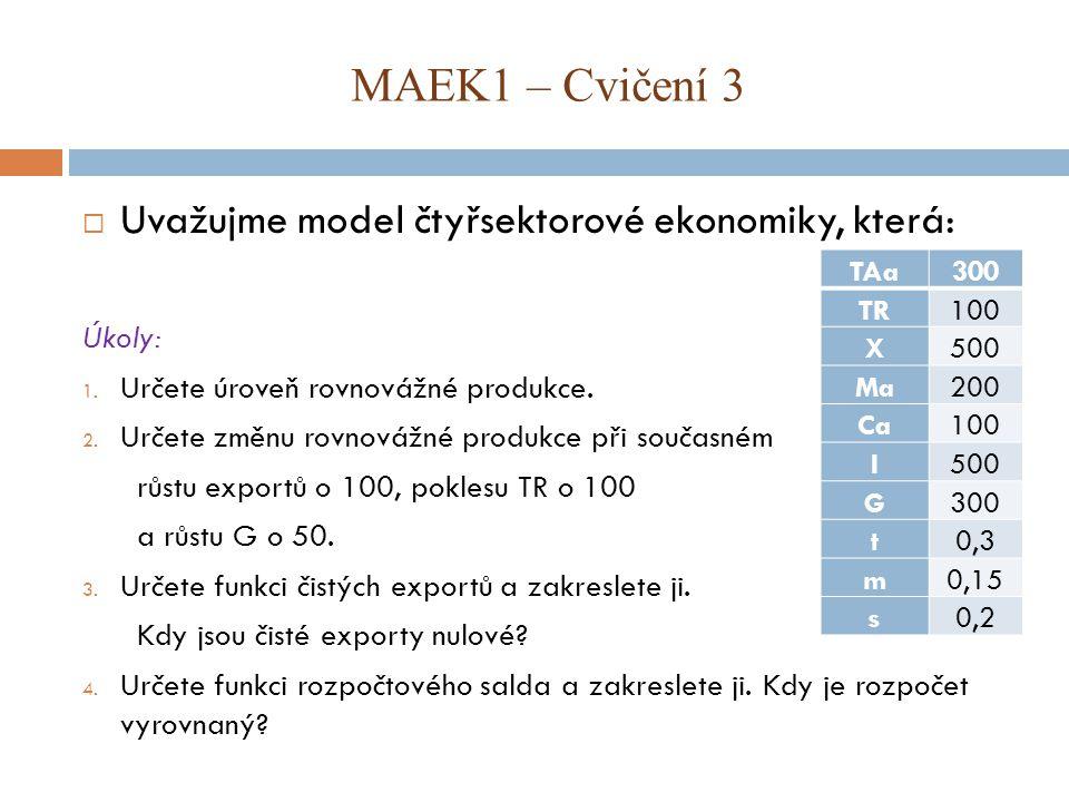 MAEK1 – Cvičení 3 Uvažujme model čtyřsektorové ekonomiky, která: