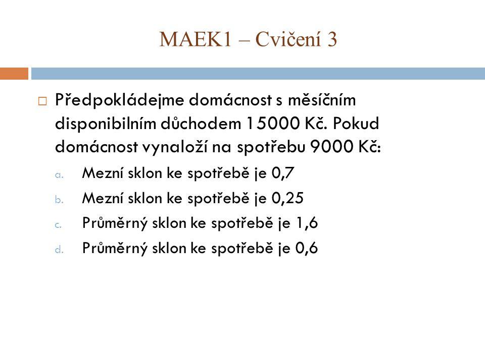 MAEK1 – Cvičení 3 Předpokládejme domácnost s měsíčním disponibilním důchodem 15000 Kč. Pokud domácnost vynaloží na spotřebu 9000 Kč: