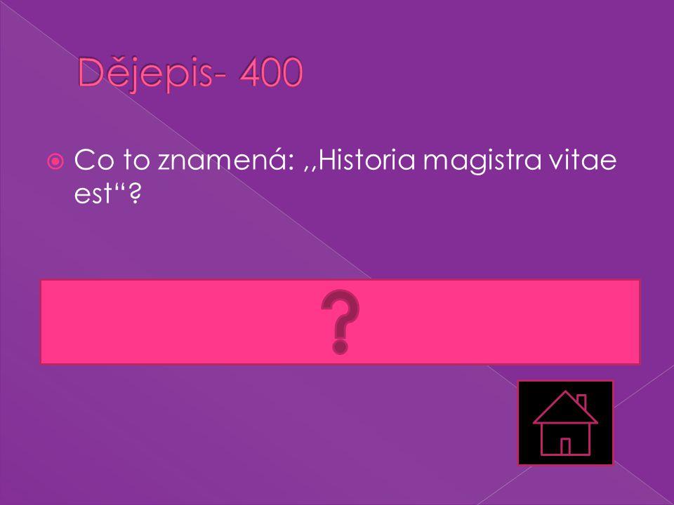Dějepis- 400 Co to znamená: ,,Historia magistra vitae est