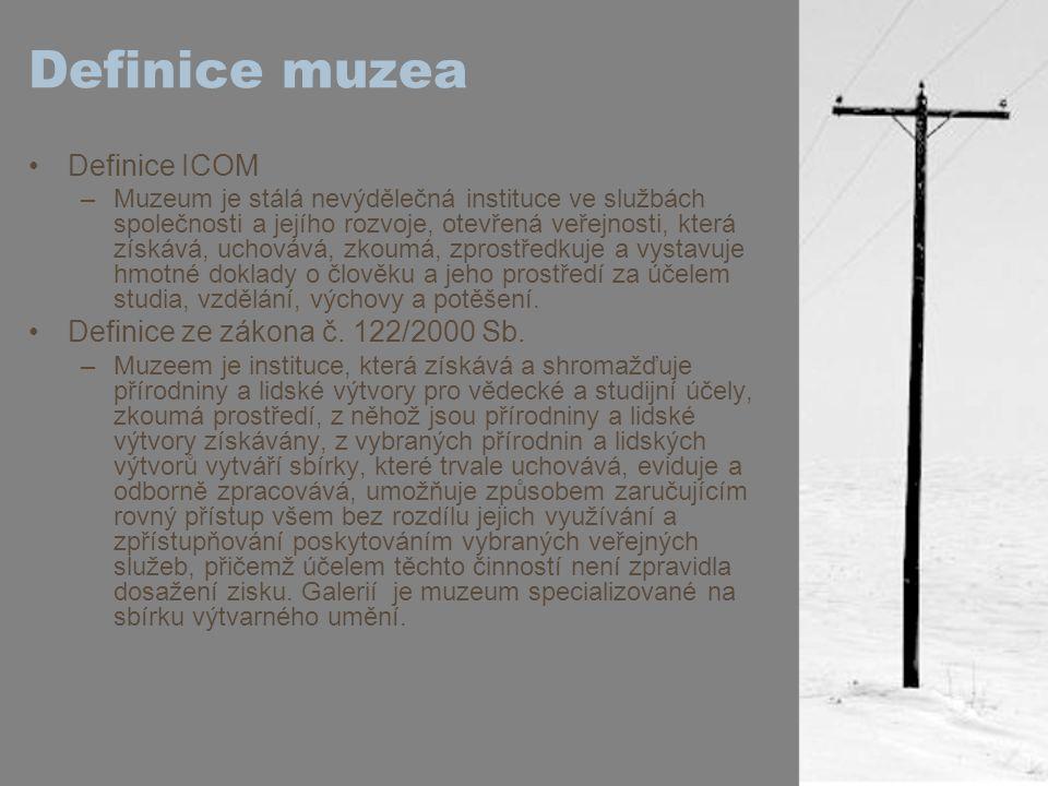 Definice muzea Definice ICOM Definice ze zákona č. 122/2000 Sb.