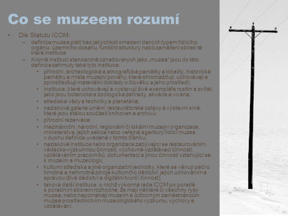 Co se muzeem rozumí Dle Statutu ICOM: