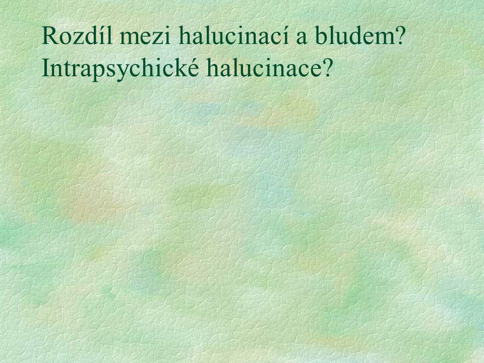 Rozdíl mezi halucinací a bludem Intrapsychické halucinace
