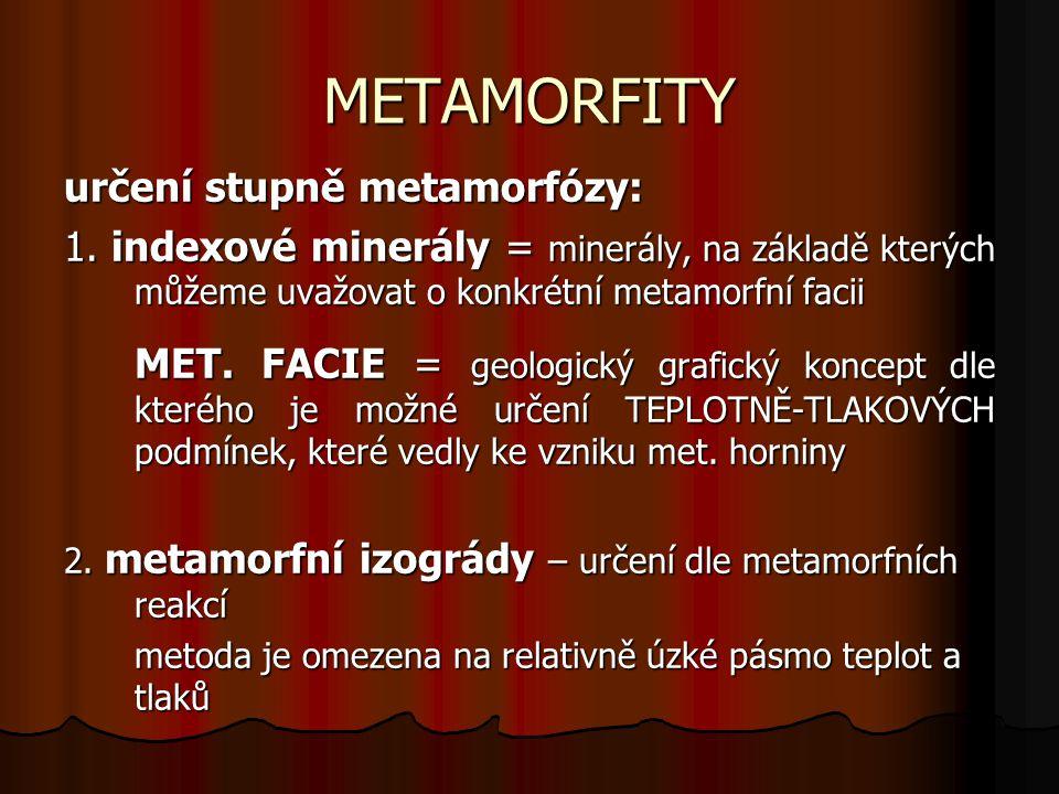 METAMORFITY určení stupně metamorfózy: