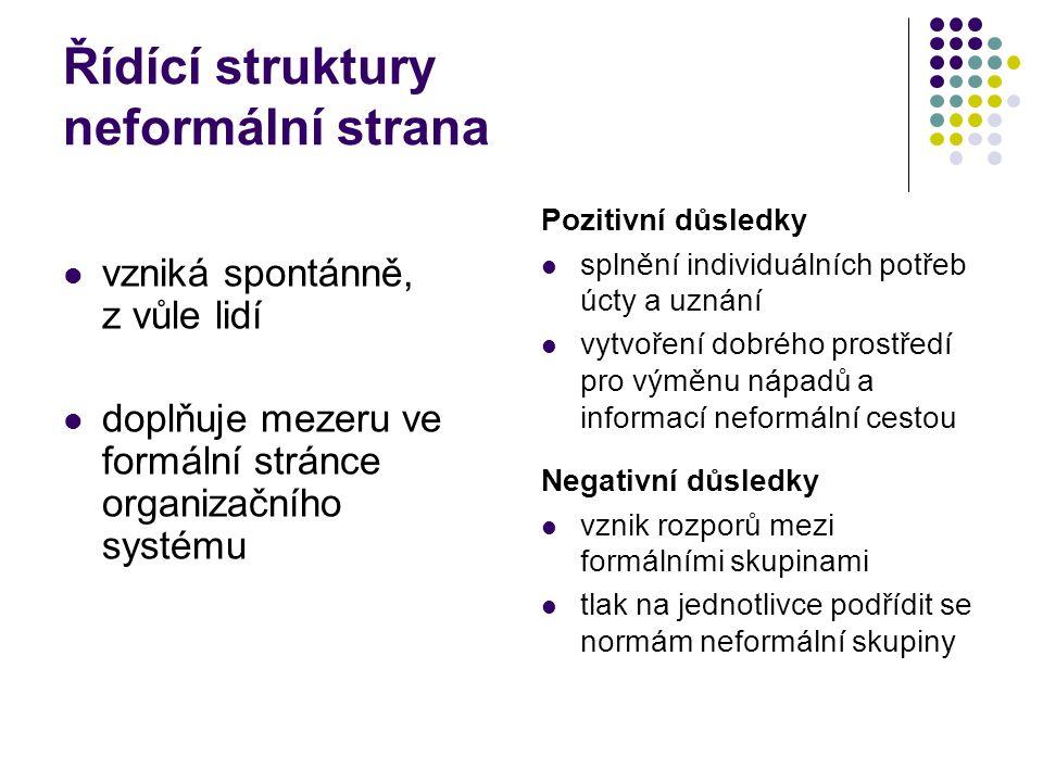 Řídící struktury neformální strana