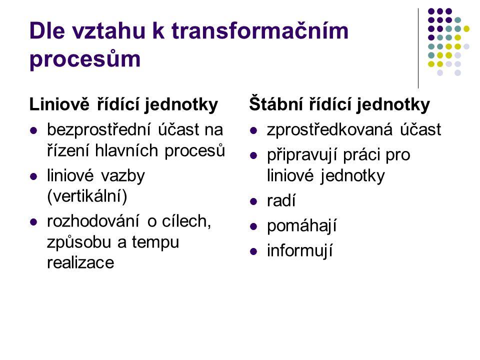 Dle vztahu k transformačním procesům