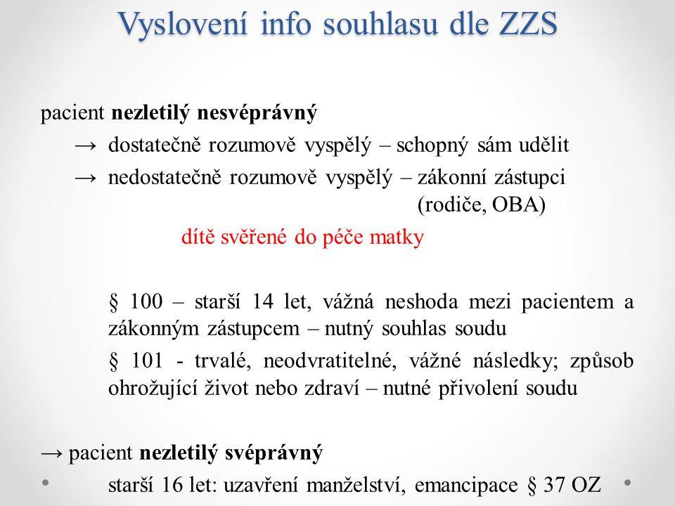 Vyslovení info souhlasu dle ZZS