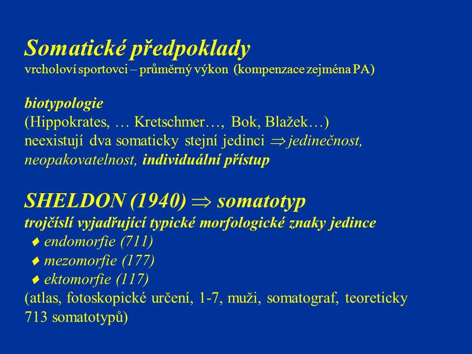 Somatické předpoklady vrcholoví sportovci – průměrný výkon (kompenzace zejména PA) biotypologie (Hippokrates, … Kretschmer…, Bok, Blažek…) neexistují dva somaticky stejní jedinci  jedinečnost, neopakovatelnost, individuální přístup SHELDON (1940)  somatotyp trojčíslí vyjadřující typické morfologické znaky jedince  endomorfie (711)  mezomorfie (177)  ektomorfie (117) (atlas, fotoskopické určení, 1-7, muži, somatograf, teoreticky 713 somatotypů)