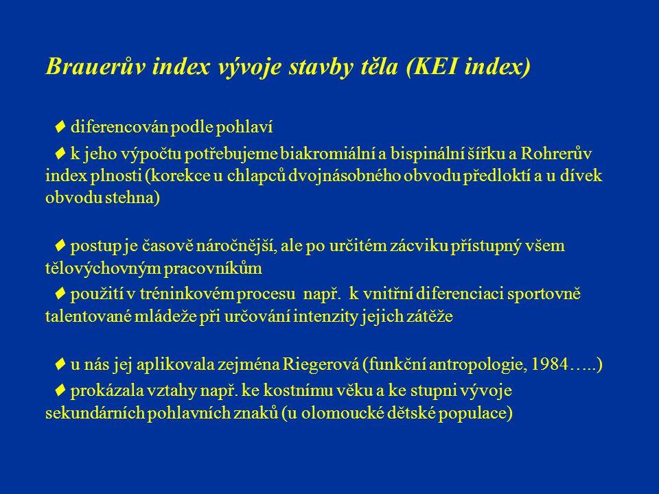Brauerův index vývoje stavby těla (KEI index)  diferencován podle pohlaví  k jeho výpočtu potřebujeme biakromiální a bispinální šířku a Rohrerův index plnosti (korekce u chlapců dvojnásobného obvodu předloktí a u dívek obvodu stehna)  postup je časově náročnější, ale po určitém zácviku přístupný všem tělovýchovným pracovníkům  použití v tréninkovém procesu např.