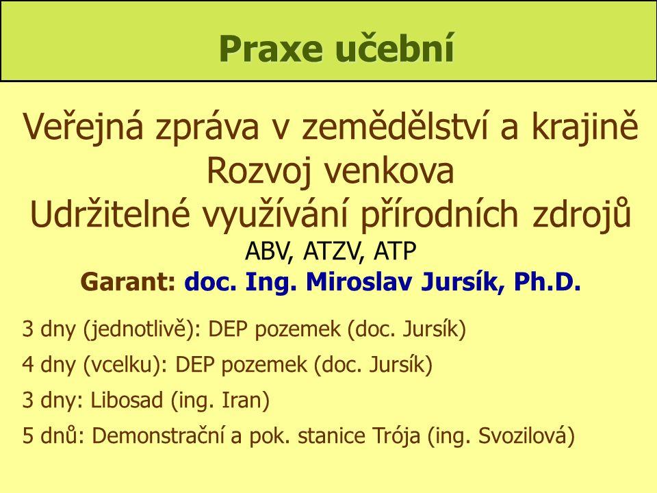Garant: doc. Ing. Miroslav Jursík, Ph.D.