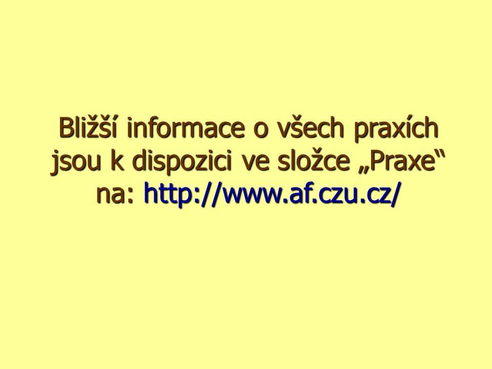 """Bližší informace o všech praxích jsou k dispozici ve složce """"Praxe na: http://www.af.czu.cz/"""