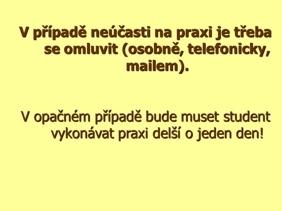 V případě neúčasti na praxi je třeba se omluvit (osobně, telefonicky, mailem).