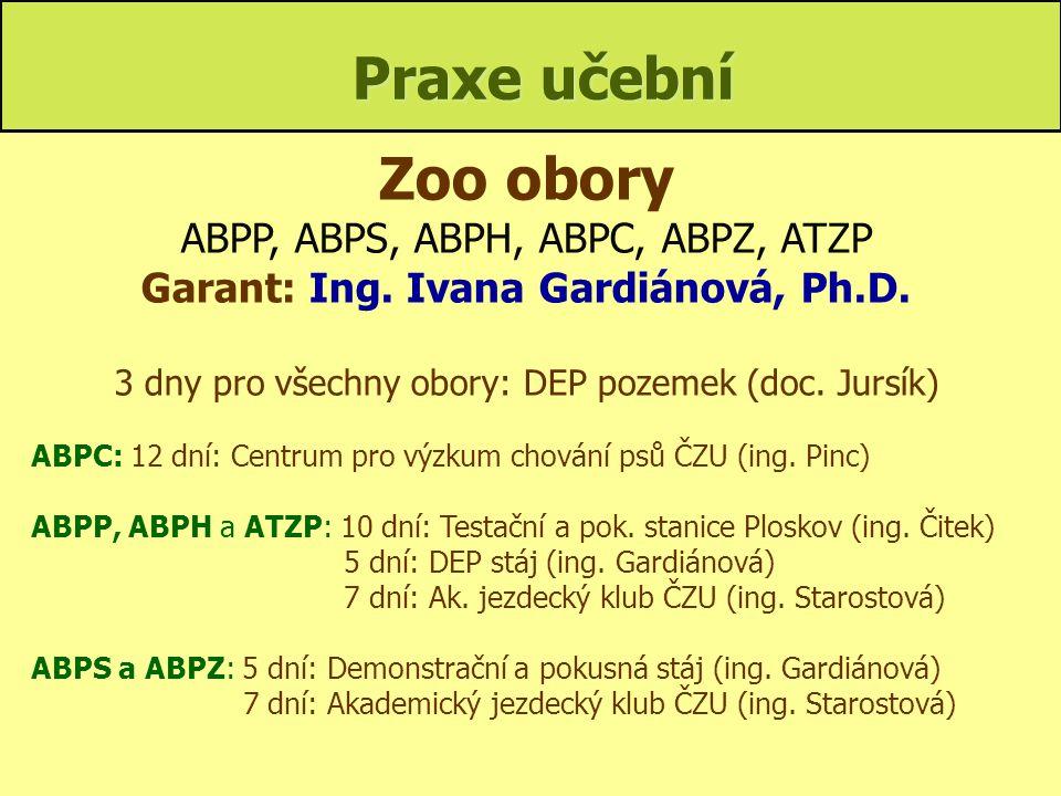 Garant: Ing. Ivana Gardiánová, Ph.D.