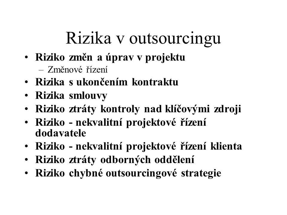 Rizika v outsourcingu Riziko změn a úprav v projektu