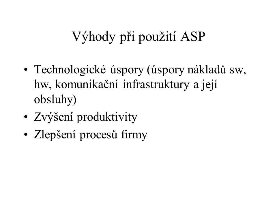 Výhody při použití ASP Technologické úspory (úspory nákladů sw, hw, komunikační infrastruktury a její obsluhy)
