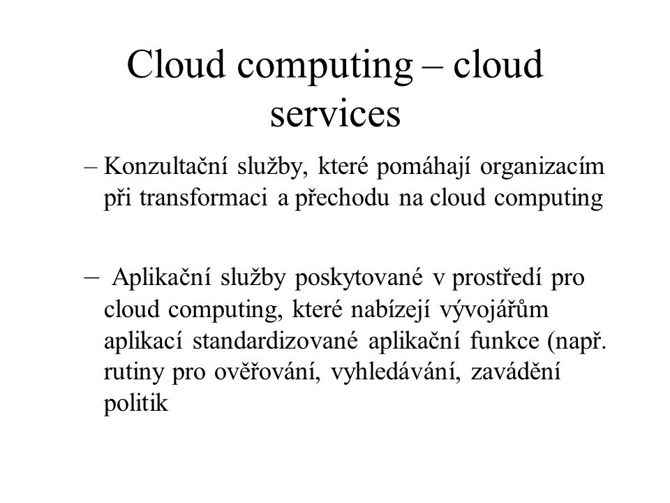 Cloud computing – cloud services