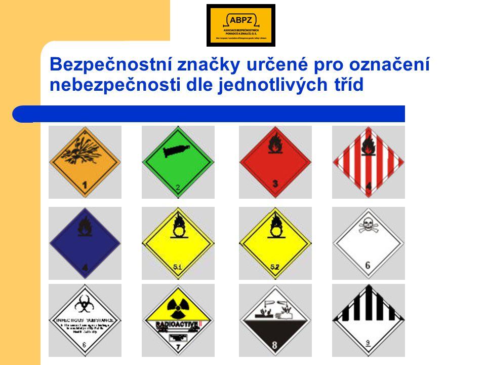 Bezpečnostní značky určené pro označení nebezpečnosti dle jednotlivých tříd