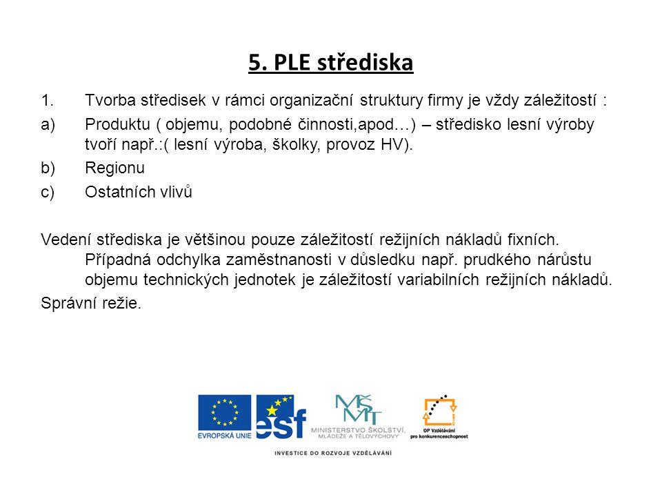5. PLE střediska Tvorba středisek v rámci organizační struktury firmy je vždy záležitostí :