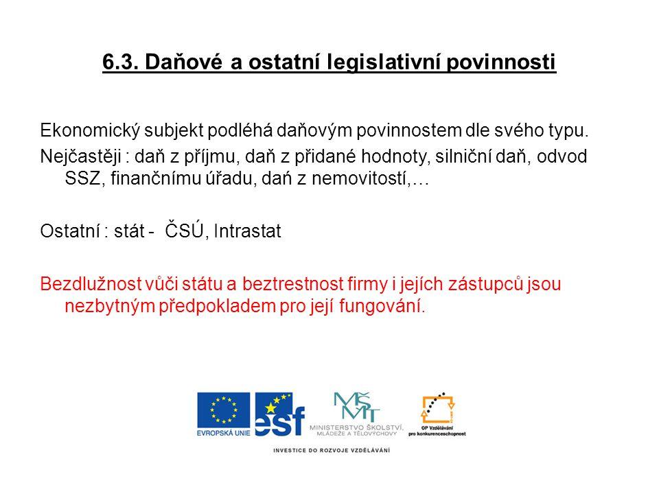 6.3. Daňové a ostatní legislativní povinnosti
