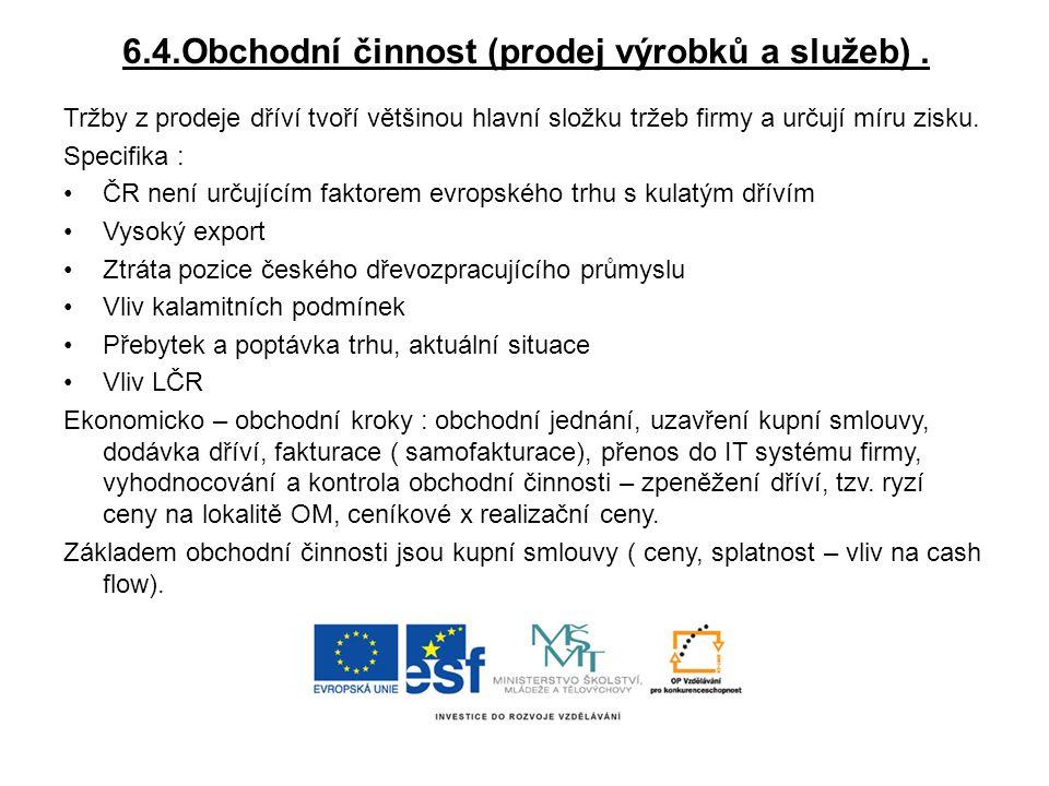 6.4.Obchodní činnost (prodej výrobků a služeb) .