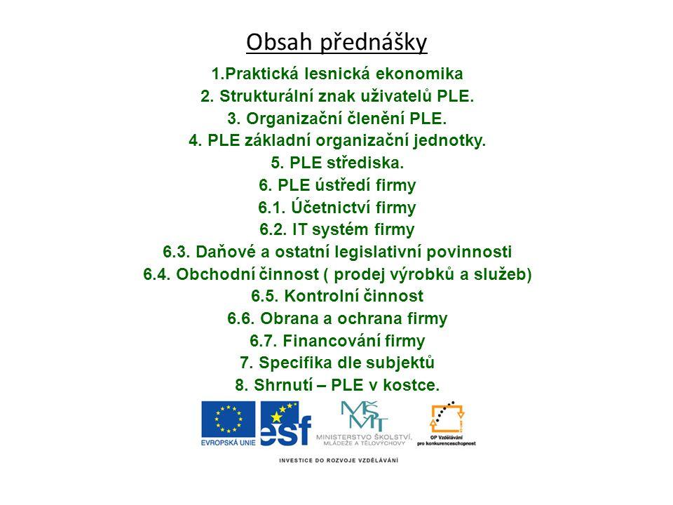 Obsah přednášky 1.Praktická lesnická ekonomika
