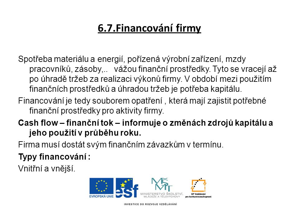 6.7.Financování firmy
