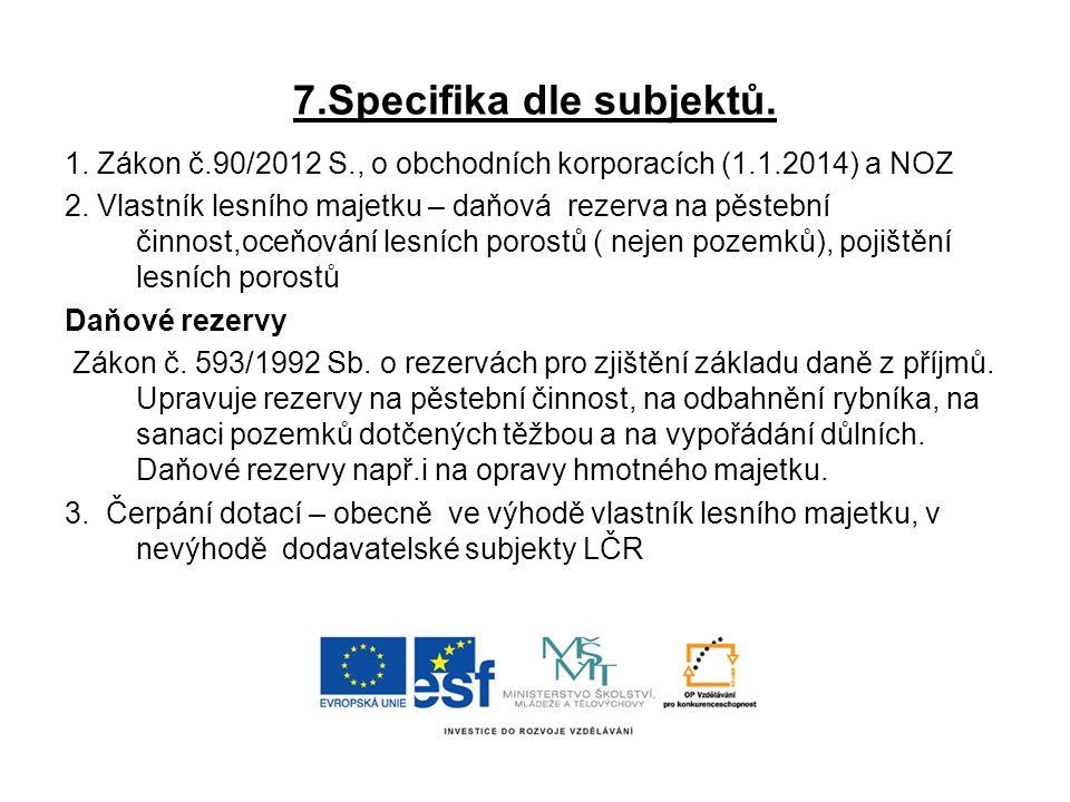 7.Specifika dle subjektů.