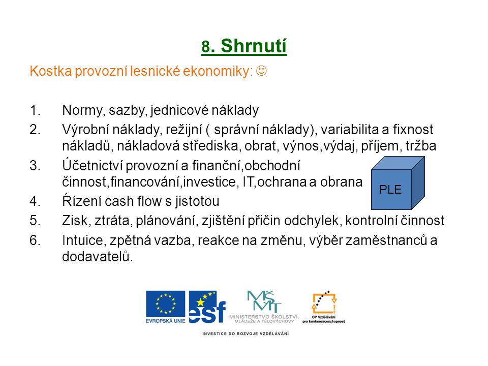 8. Shrnutí Kostka provozní lesnické ekonomiky: 