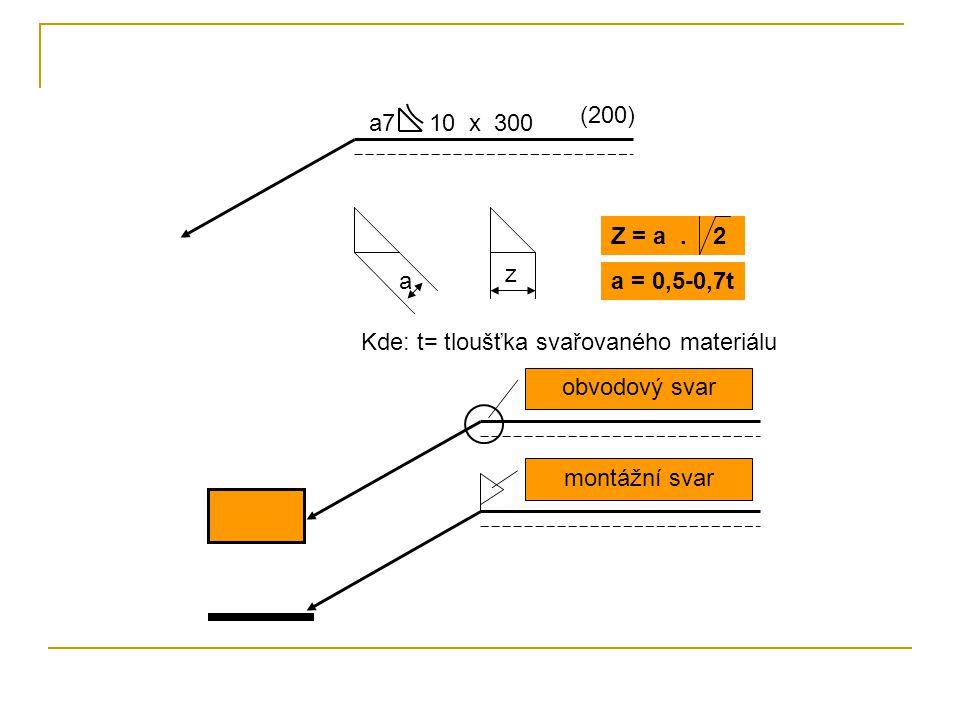 (200) a7 10 x 300. Z = a . 2. z. a. a = 0,5-0,7t. Kde: t= tloušťka svařovaného materiálu.