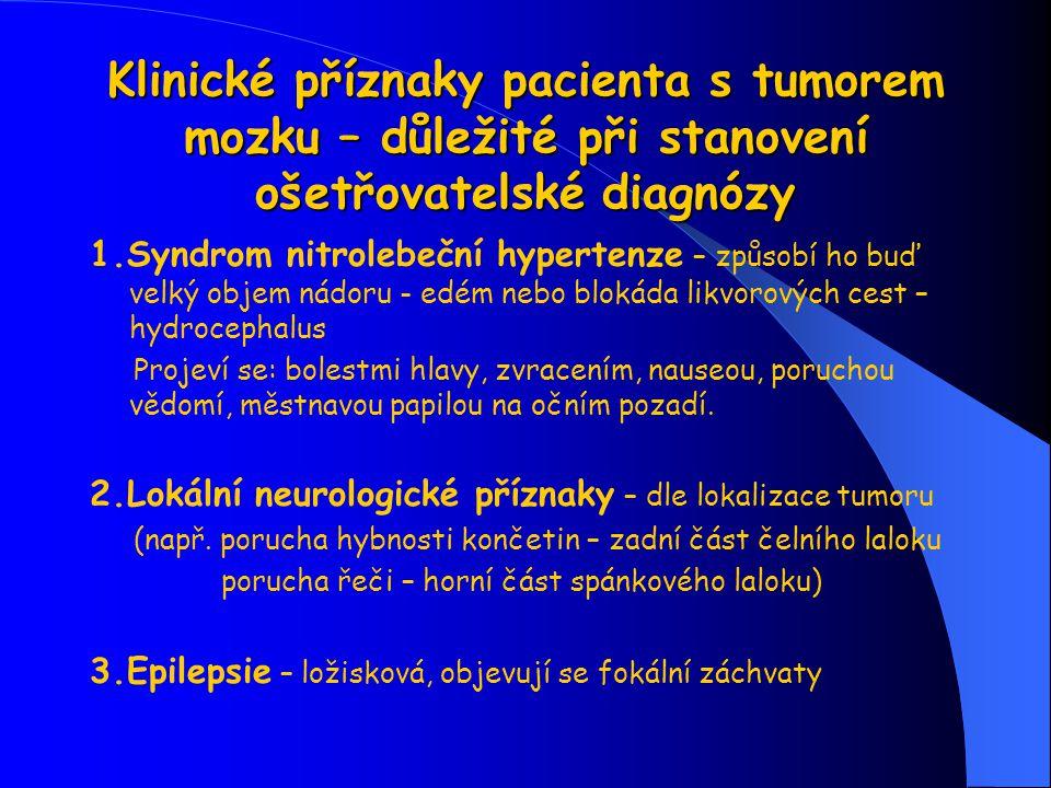 Klinické příznaky pacienta s tumorem mozku – důležité při stanovení ošetřovatelské diagnózy