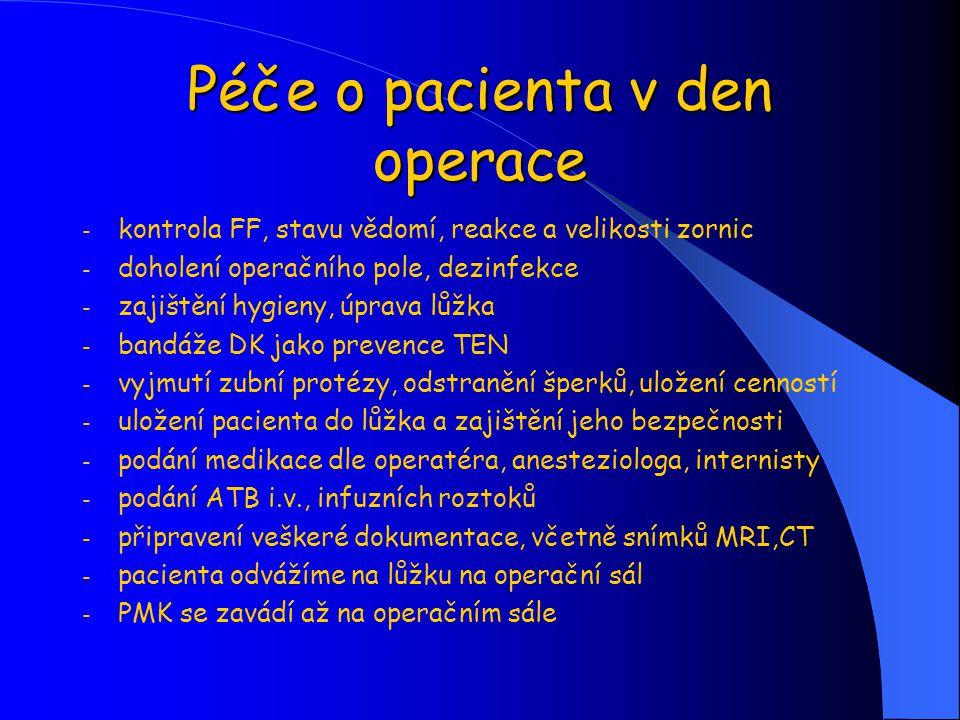 Péče o pacienta v den operace