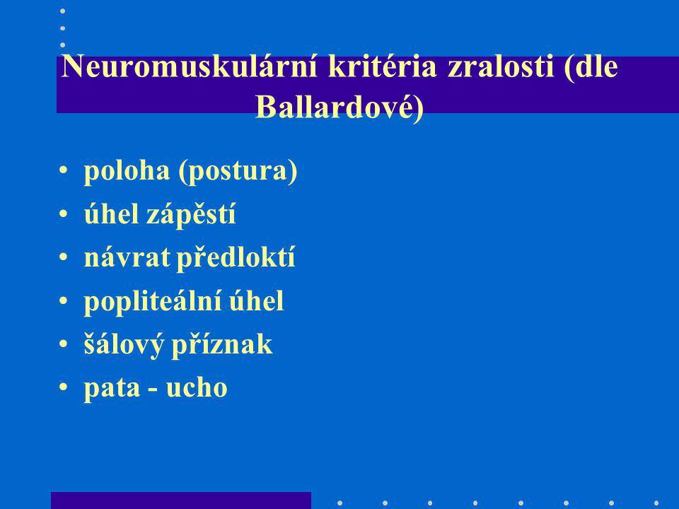 Neuromuskulární kritéria zralosti (dle Ballardové)