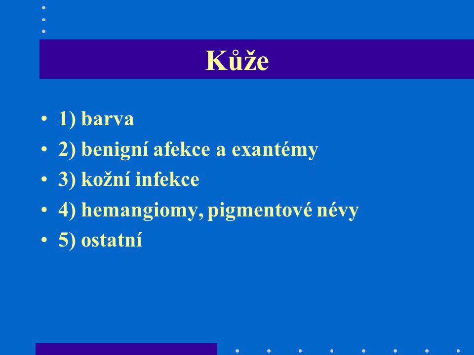 Kůže 1) barva 2) benigní afekce a exantémy 3) kožní infekce