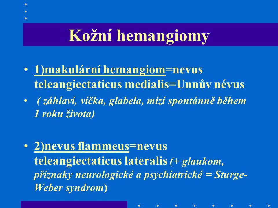 Kožní hemangiomy 1)makulární hemangiom=nevus teleangiectaticus medialis=Unnův névus. ( záhlaví, víčka, glabela, mízí spontánně během 1 roku života)