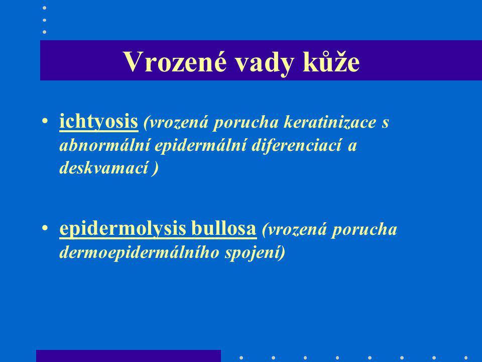 Vrozené vady kůže ichtyosis (vrozená porucha keratinizace s abnormální epidermální diferenciací a deskvamací )