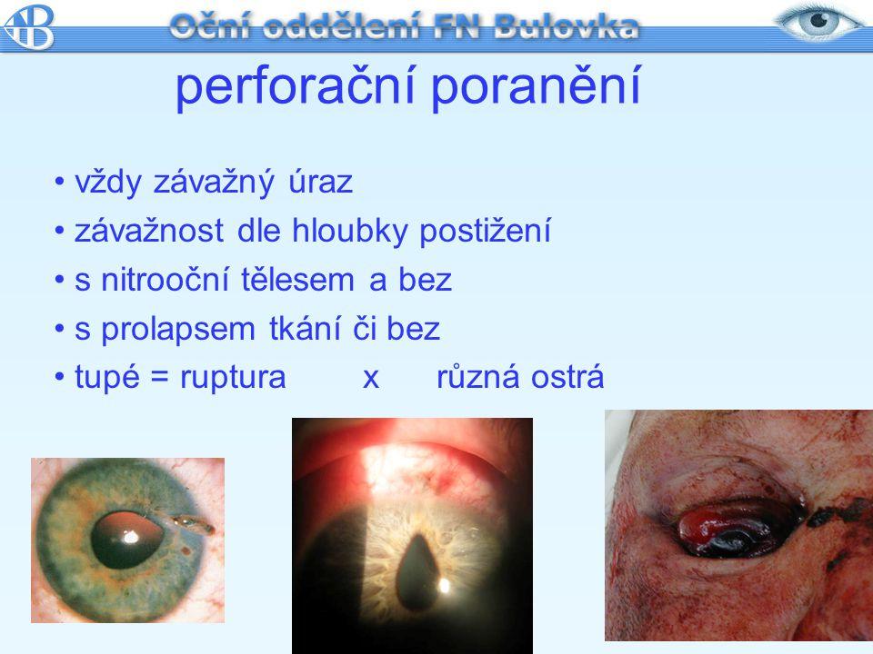 perforační poranění vždy závažný úraz závažnost dle hloubky postižení
