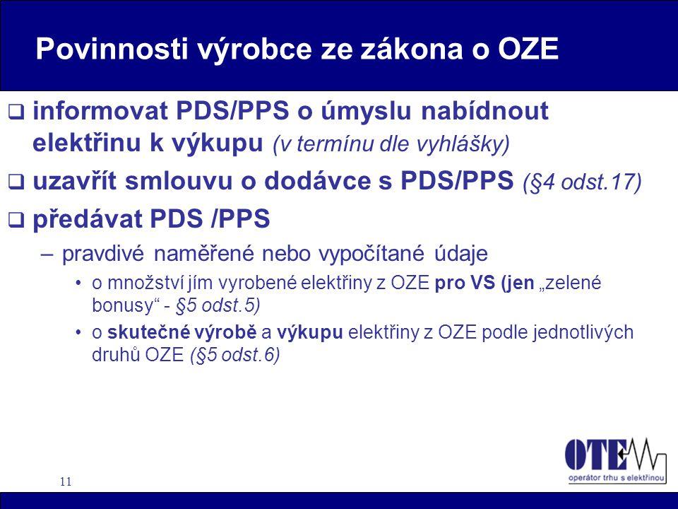 Povinnosti výrobce ze zákona o OZE