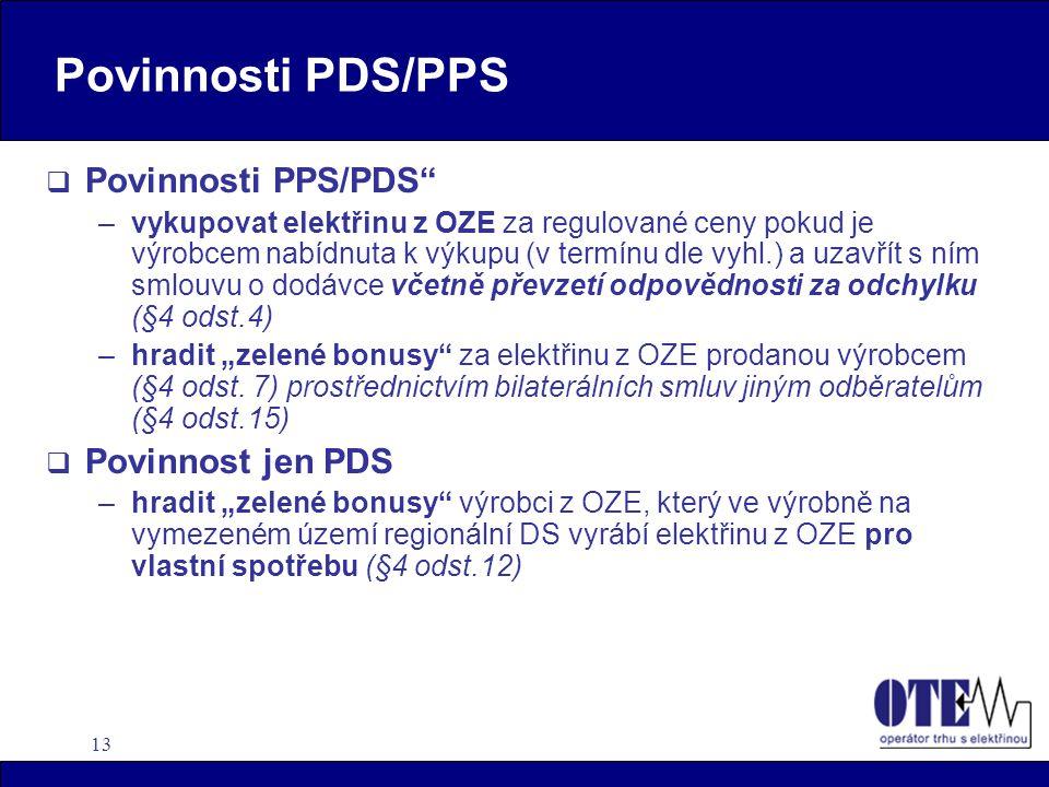 Povinnosti PDS/PPS Povinnosti PPS/PDS Povinnost jen PDS