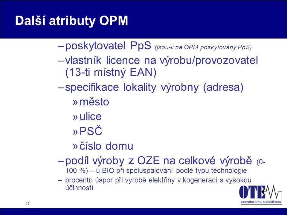 Další atributy OPM poskytovatel PpS (jsou-li na OPM poskytovány PpS)