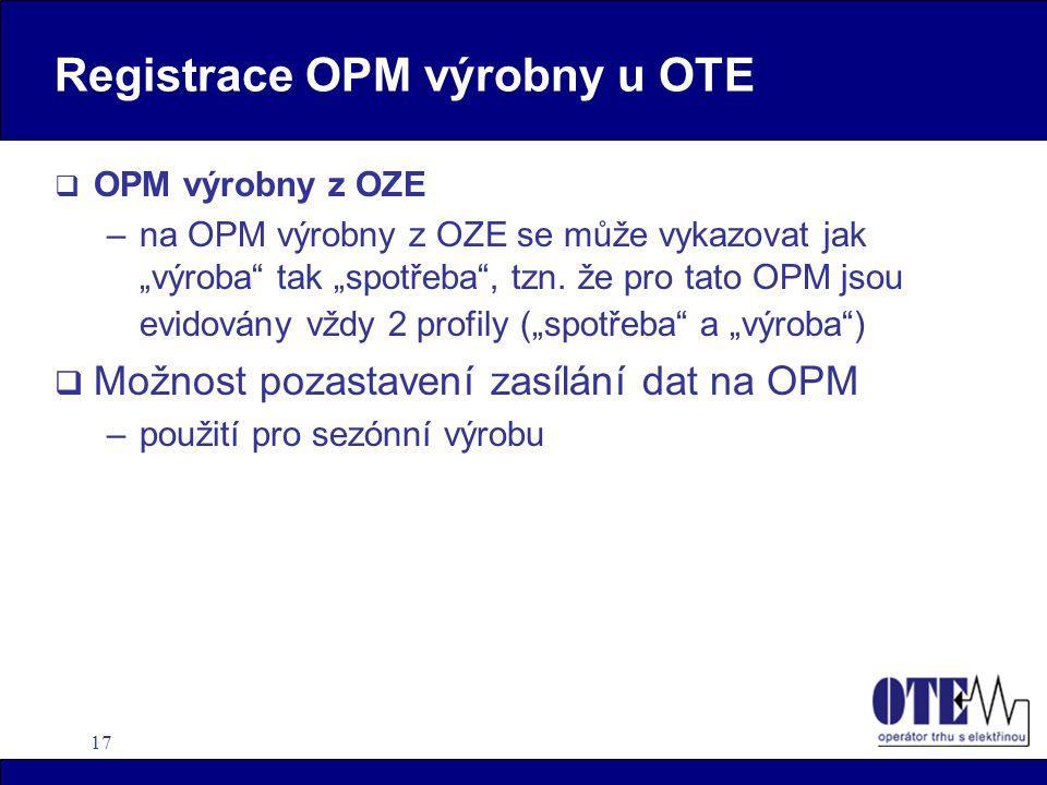 Registrace OPM výrobny u OTE