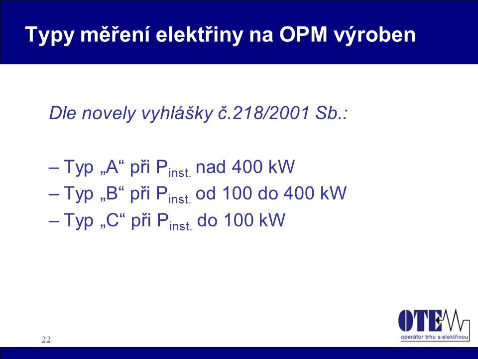 Typy měření elektřiny na OPM výroben