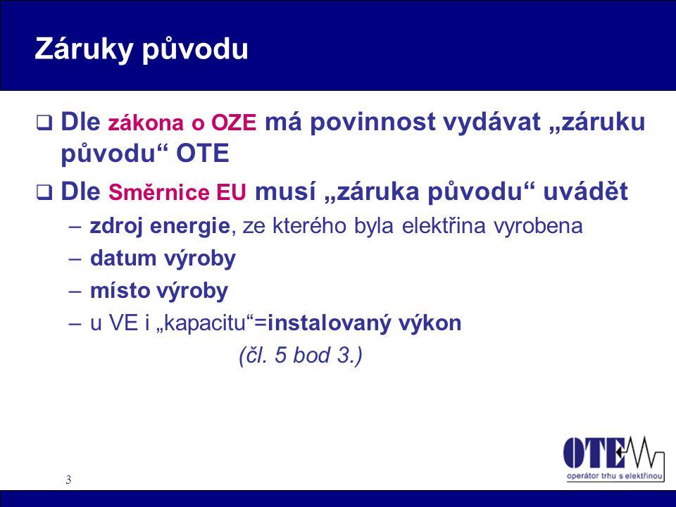 """Záruky původu Dle zákona o OZE má povinnost vydávat """"záruku původu OTE. Dle Směrnice EU musí """"záruka původu uvádět."""