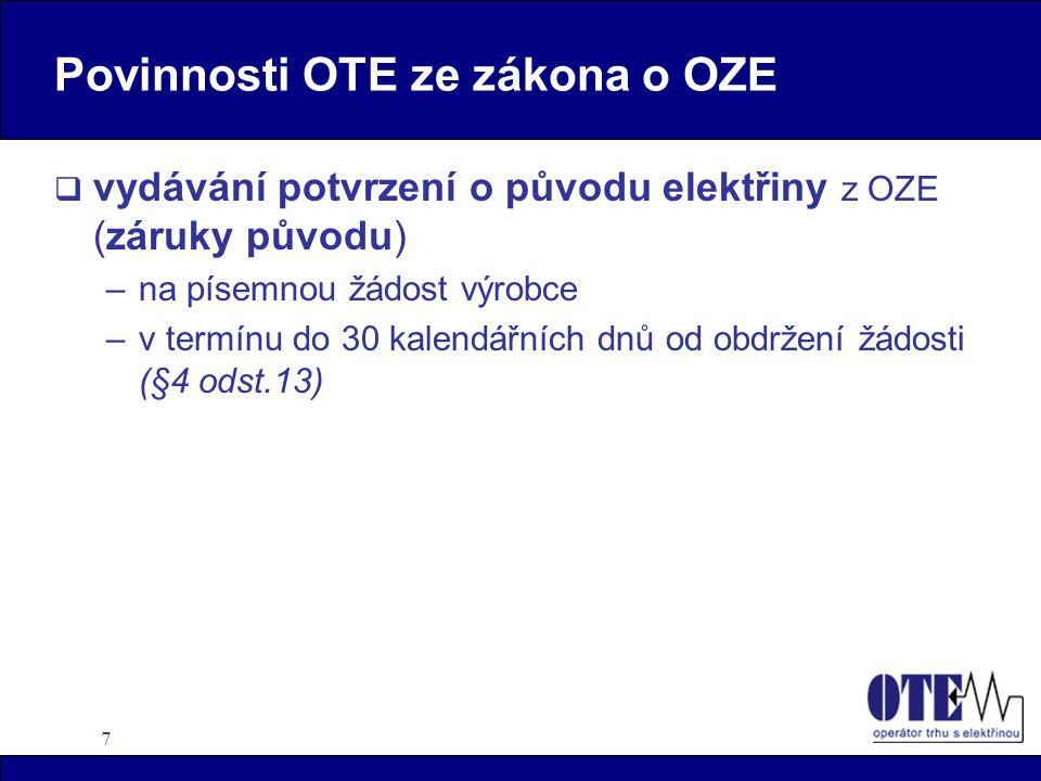 Povinnosti OTE ze zákona o OZE
