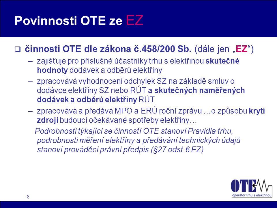 """Povinnosti OTE ze EZ činnosti OTE dle zákona č.458/200 Sb. (dále jen """"EZ )"""